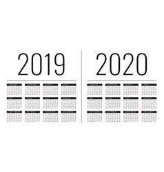 mockup simple calendar layout for 2019 and 2020 vector image