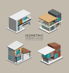 Modern house isometric collections design vector