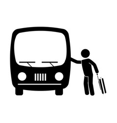 Monochrome pictogram with man and suitcase taking vector