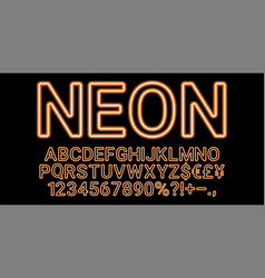 neon font in orange color vector image