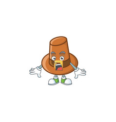 Object brown pilgrim hat with character surprised vector