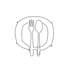 one single line drawing plate fork and spoon vector image