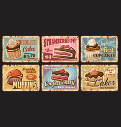 pastry shop cupcakes muffins and cakes tin signs vector image
