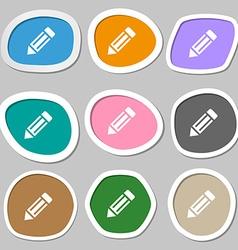 pencil icon icon symbols Multicolored paper vector image