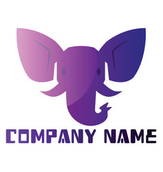 purple elephant simple logo design on a white vector image