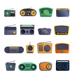 radio icon set cartoon style vector image