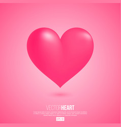 realistic 3d valentine heart vector image