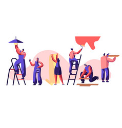 repair service professional worker woman on ladder vector image