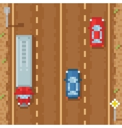 Road with red blue cars and cargo truck - retro vector image vector image