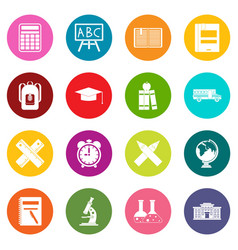 School icons many colors set vector