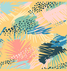 Seamless exotic pattern with tropical plants and vector