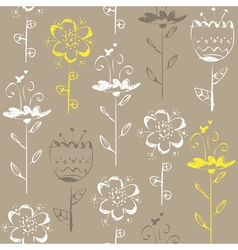 Seamless pattern with light sketch flowers on grey vector image