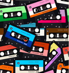 seamless pattern with old audio cassettes vector image