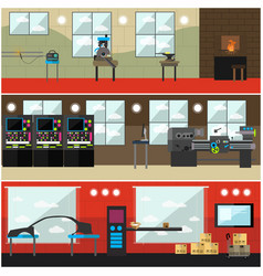set of factory interior posters banners in vector image