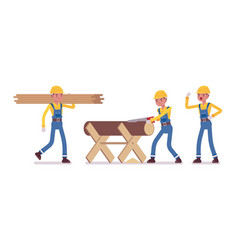 Set of male worker working with timber and wood vector