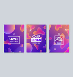 set of modern abstract fluid covers set vector image