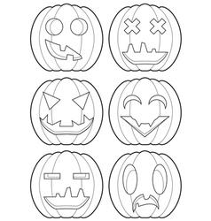 Set of pumpkins outlines vector
