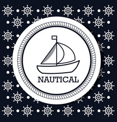 Ship boat nautical design isolated vector
