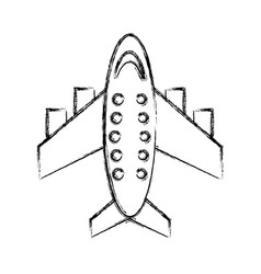 Sketch draw airplane cartoon vector