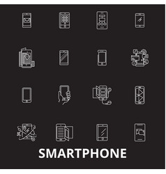 smartphone editable line icons set on black vector image