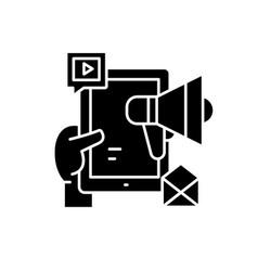 social media marketing network black icon vector image