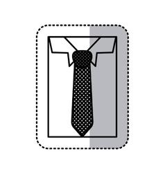 Sticker monochrome contour close up formal shirt vector