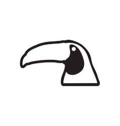 Stylish black and white icon Brazilian toucan vector