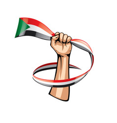Sudan flag and hand on white background vector
