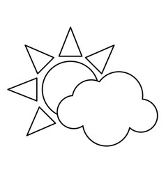 Sun cloud weather symbol thin line vector
