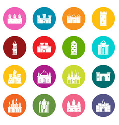 Towers and castles icons many colors set vector