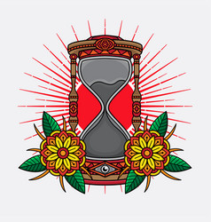 traditional tattoo hourglass design vector image