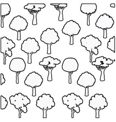 Tree different foliage plant botanical seamless vector