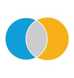 Venn diagram maths negative space color modern vector