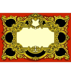 Vintage Gold Baroque Frame on Red Background vector