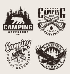 Vintage summer camping labels vector