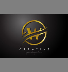 W golden letter logo design with circle swoosh vector