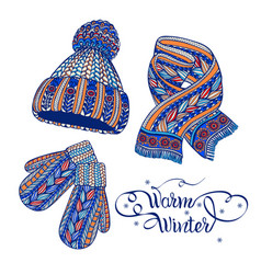 warm hat mittens scarf color doodle vector image