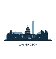 washington skyline monochrome silhouette vector image