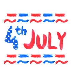 Watercolor text 4th july vector image