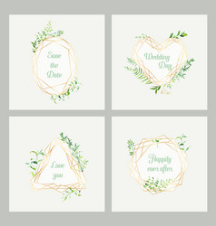 Wedding invitation floral templates set vector
