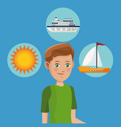 Young boy tourist traveler vacation icons design vector