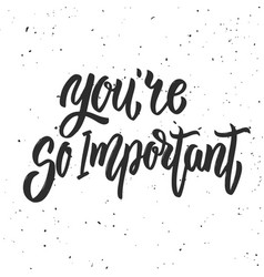 youre so important hand drawn lettering phrase vector image