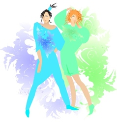 Fashion two girls model clothes vector image
