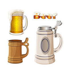 glass beer cup with foam ancient bavarian and vector image vector image