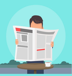 man reading newspaper flat concept vector image