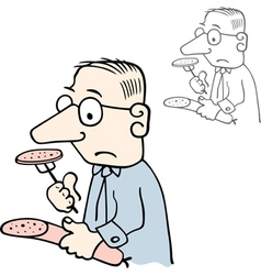 Man tasting sausage vector image vector image