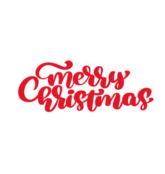 merry christmas red calligraphic lettering vector image