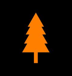 new year tree sign orange icon on black vector image