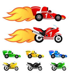 race car and motorcycle vector image vector image