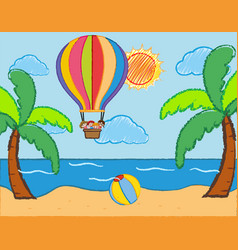 scene with kids riding on balloon over the sea vector image